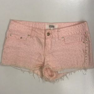 VS pink cheetah print short with gold studs size 6